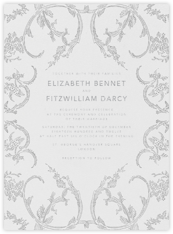 Silk Brocade I - Platinum - Oscar de la Renta - Wedding Invitations