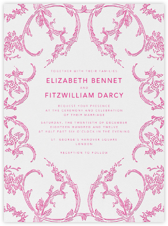 Silk Brocade I - Raspberry - Oscar de la Renta - Wedding Invitations