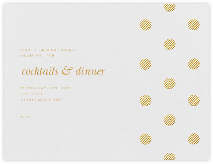 Polka Dot (Horizontal) - Medium Gold - Oscar de la Renta - Reception invitations