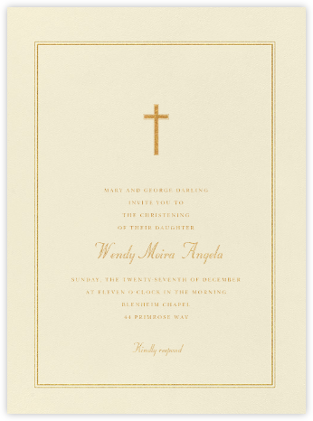 Chartres - Medium Gold - Paperless Post - Baptism invitations