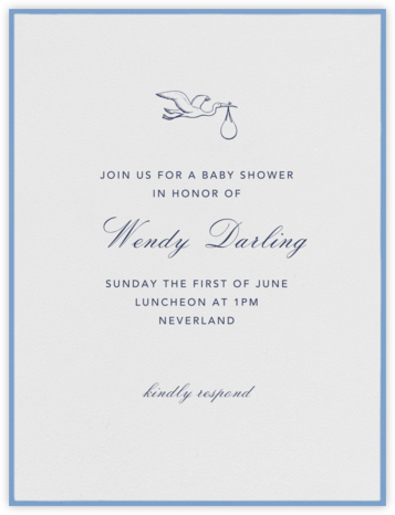 Marylebone Nursery - Newport Blue - Paperless Post - Baby Shower Invitations