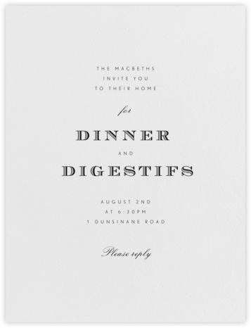 Durham - Black - Paperless Post - Dinner party invitations