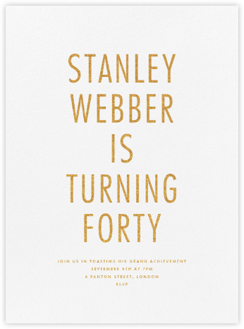 Gladney - Gold - Paperless Post - Adult Birthday Invitations
