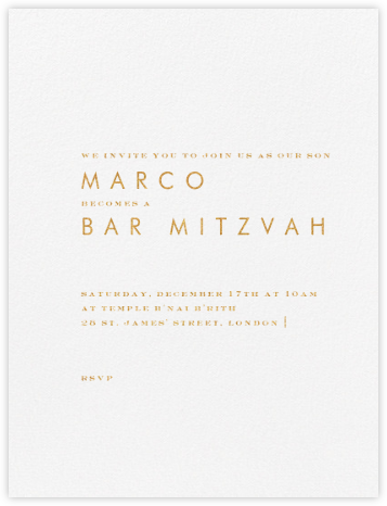 Brigid - Gold - Paperless Post - Bat and Bar Mitzvah Invitations