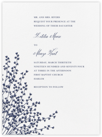 Forsythia - Navy - Crane & Co. - Wedding Invitations