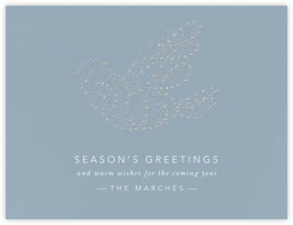 Vine Dove - Platinum (Engraving) - Paperless Post - Company holiday cards
