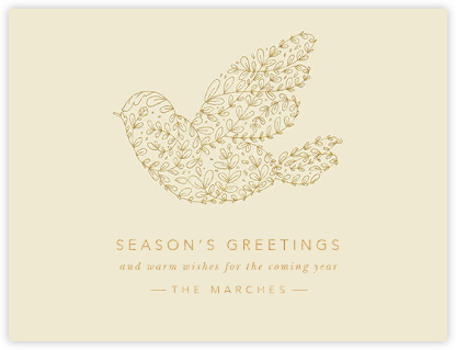 Vine Dove - Medium Gold - Paperless Post - Holiday Cards