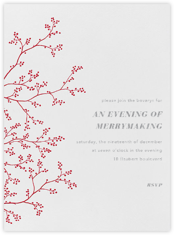Winter Berries - Red on Ivory - Paperless Post - Winter Party Invitations