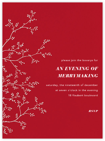 Winter Berries - White on Red - Paperless Post - Christmas invitations