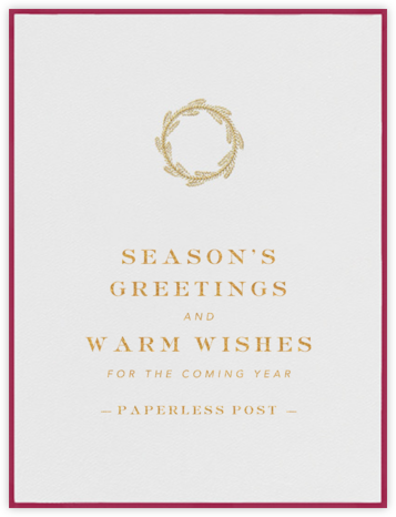 Classic Wreath - Burgundy with Gold - Paperless Post - Christmas Cards