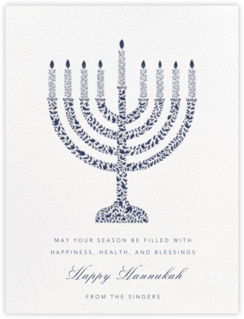 Vine Menorah - Navy - Paperless Post - Hanukkah Cards