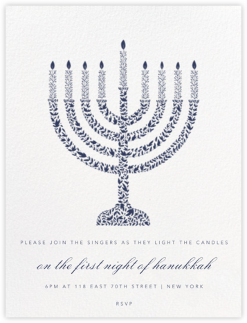Vine Menorah - Navy - Paperless Post - Hanukkah Invitations
