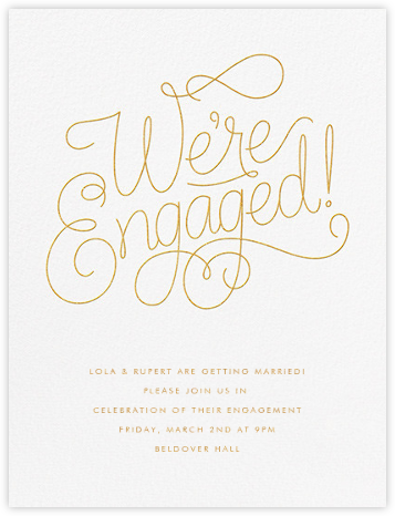 Bobbin I (Engagement) - Gold - Paperless Post - Engagement party invitations