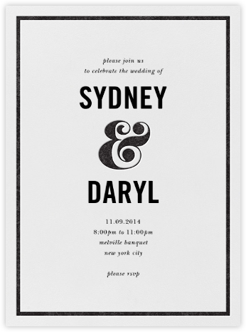 Ampersand (Invitation) - Black - kate spade new york - Kate Spade invitations, save the dates, and cards
