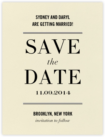 Typographic I (Save the Date) - kate spade new york - Kate Spade invitations, save the dates, and cards