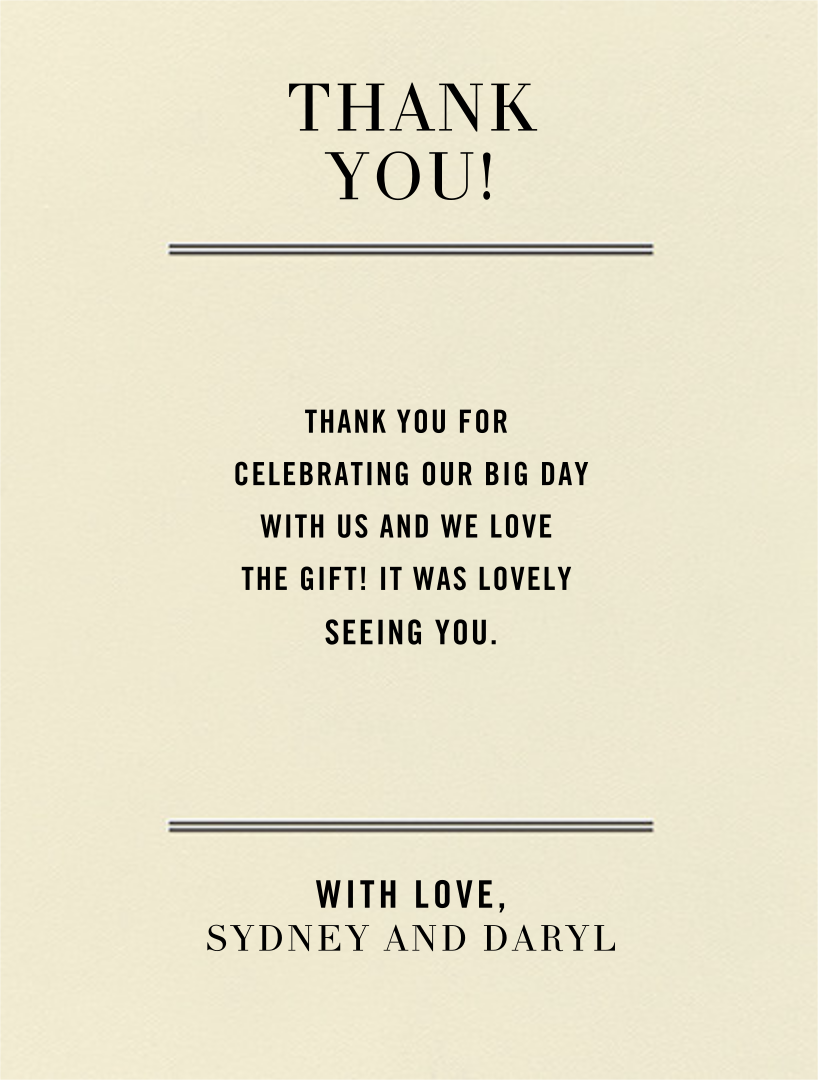 Typographic I (Thank You) - kate spade new york - Wedding thank you notes
