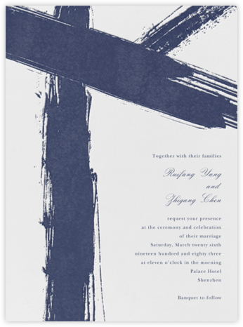 Gesso I - Navy Blue - Paperless Post - Wedding Invitations