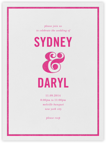 Ampersand (Invitation) - Raspberry - kate spade new york - Modern wedding invitations