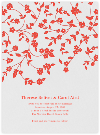 Floral Trellis  I - Geranium - Oscar de la Renta - Indian Wedding Cards