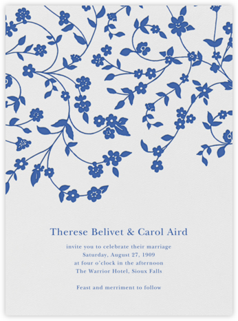 Floral Trellis I - Regent Blue - Oscar de la Renta - Wedding Invitations