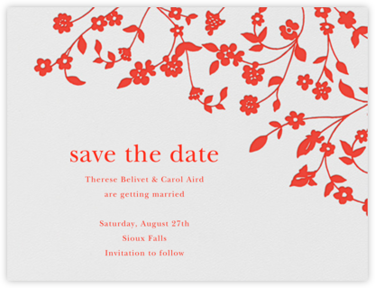 Floral Trellis I (Save the Date) - Geranium  - Oscar de la Renta - Save the dates