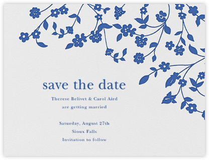 Floral Trellis I (Save the Date) - Regent Blue  - Oscar de la Renta - Save the dates