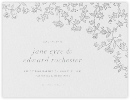 Stitched Floral I - Platinum (Save the Date) - Oscar de la Renta - Save the dates
