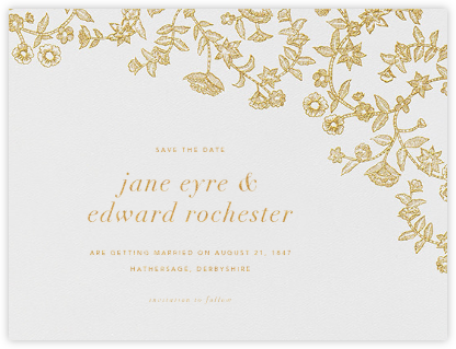 Stitched Floral I - Medium Gold (Save the Date) - Oscar de la Renta - Save the dates