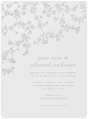 Stitched Floral - Platinum - Oscar de la Renta - Wedding Invitations
