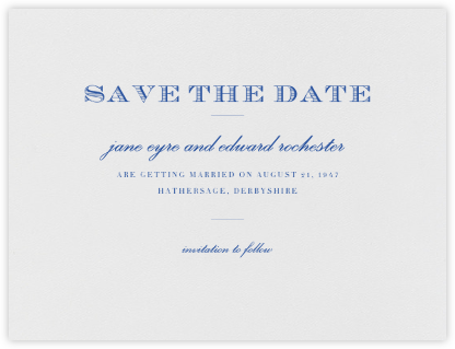Marchmain (Save The Date) - Regent Blue - Paperless Post - Classic save the dates