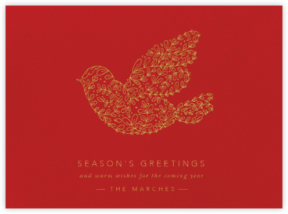 Vine Dove - Gold (Engraving) - Paperless Post - Holiday Cards