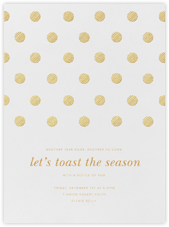 Polka Dot - Medium Gold - Oscar de la Renta - Holiday invitations