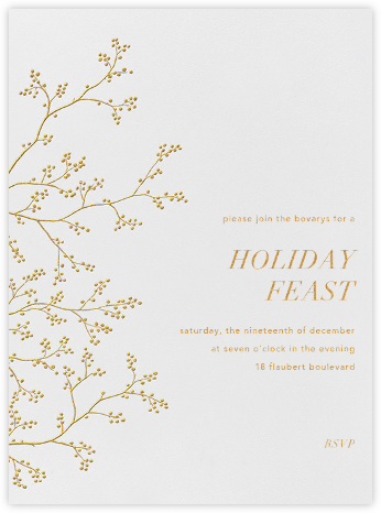 Winter Berries - White/Gold - Paperless Post - Winter Party Invitations