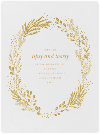Winter Garden I (Invitation) - Gold - Paperless Post - Winter entertaining invitations