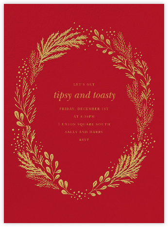 Winter Garden I (Invitation) - Flame Red - Paperless Post - Winter Party Invitations