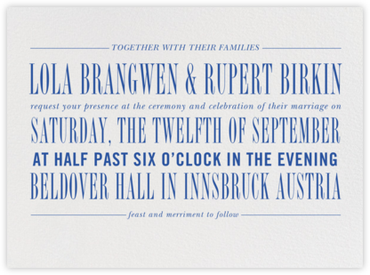 Assemblage I - Regent Blue - Paperless Post - Wedding Invitations