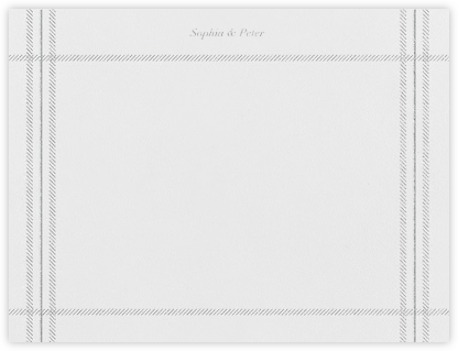 White Tartan (Stationery) - Platinum - Vera Wang - Personalized Stationery