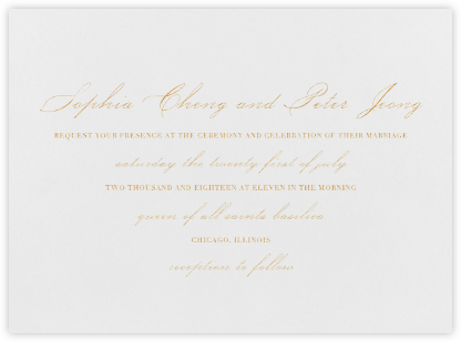 Spindle - Gold - Vera Wang - Wedding Invitations