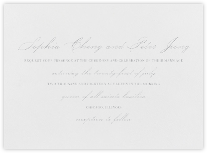 Spindle - Platinum - Vera Wang - Wedding Invitations