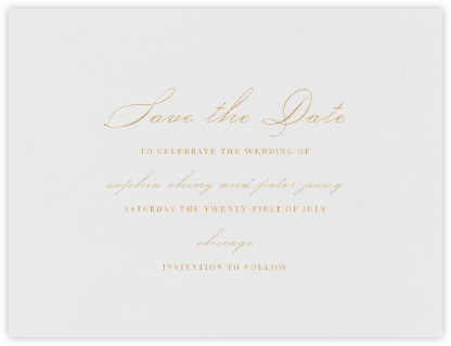 Spindle (Save the Date) - Gold - Vera Wang - Gold and metallic save the dates