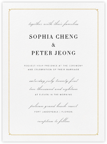 Ledger - Gold - Vera Wang - Online Wedding Invitations