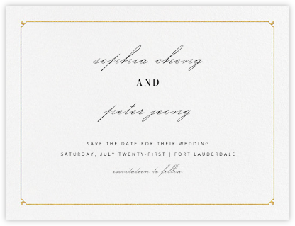 Ledger (Save the Date) - Gold - Vera Wang - Modern save the dates