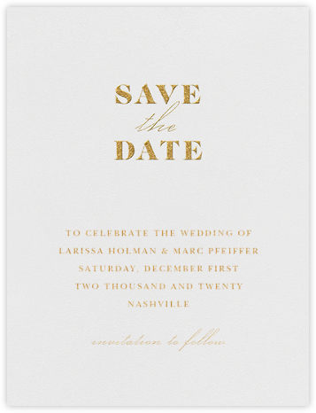 Dyad (Save the Date) - Gold - Vera Wang - Gold and metallic save the dates