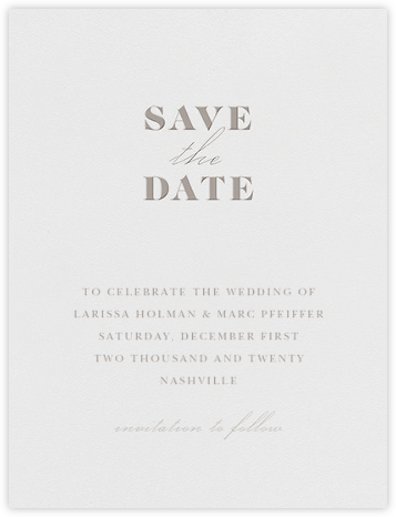 Dyad (Save the Date) - Taupe - Vera Wang - Save the dates