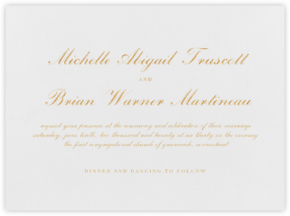 English - Gold - Vera Wang - Wedding Invitations