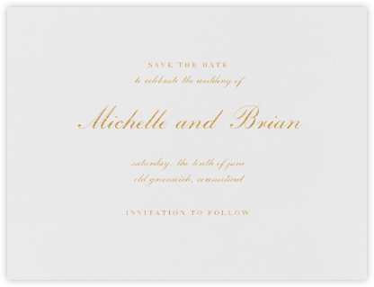 English (Save the Date) - Gold - Vera Wang - Save the date cards and templates