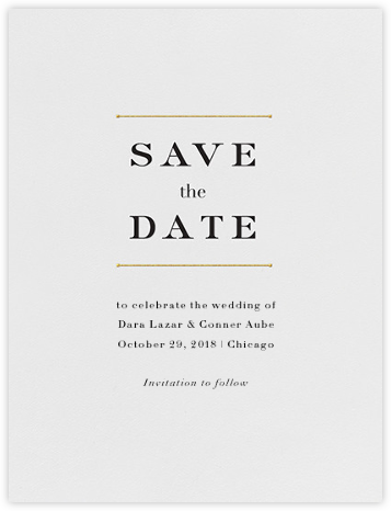 Roman (Save the Date) - Gold - Vera Wang - Gold and metallic save the dates
