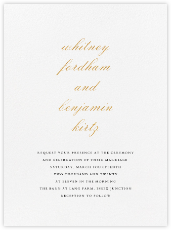 Ligature - Gold - Vera Wang - Modern wedding invitations