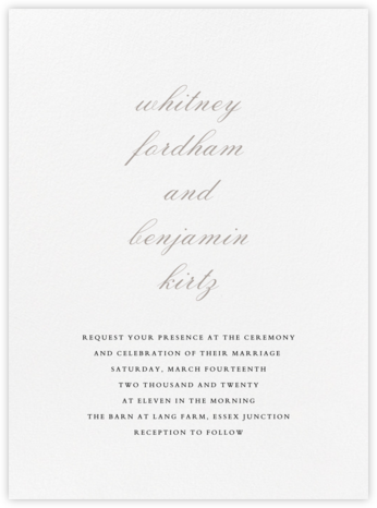 Ligature - Taupe - Vera Wang - Wedding Invitations