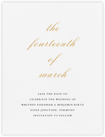 Ligature (Save the Date) - Gold - Vera Wang - Save the date cards and templates